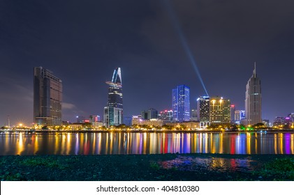 Downtown Saigon, Ho Chi Minh city by night - the biggest city in Vietnam.