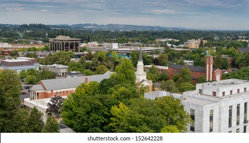 Downtown Salem as viewed from the top of the Oregon State Capitol building