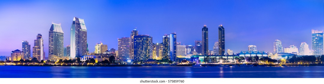 Downtown San Diego, California panorama at night.