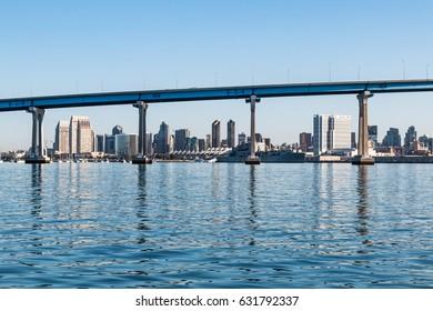 Downtown San Diego, California, as seen through the San Diego-Coronado Bay Bridge.