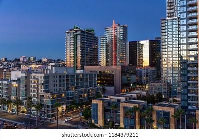 Downtown San Diego, California skyline at sunset