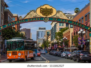 Downtown San Diego, California, Usa. October 2016. Gaslamp