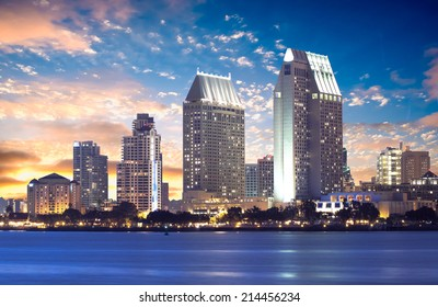 Downtown San Diego Cityscape Sunset, California USA
