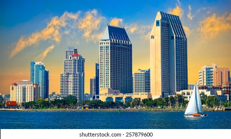 Downtown San Diego Cityscape and Sunset, California USA. California Tourism