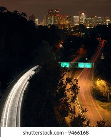 Downtown San Diego and Hw163 at night from Balboa Park bridge