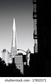 Downtown San Francisco, with the Transamerica pyramid building.