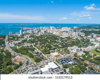 Downtown Sarasota Florida Aerial View On Sunny Day with Blue Clouds