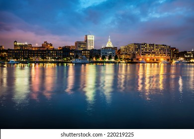 Downtown Savannah , Georgia, along riverfront at night