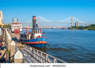Downtown Savannah riverfront with blue sky in Georgia, USA