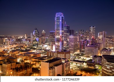 Downtown scenic cityscape skyline view over the city of Dallas Texas USA