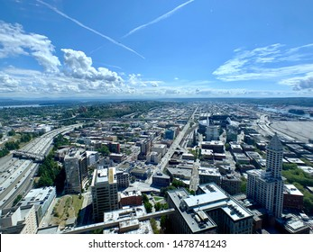 Downtown Seattle - August 12 2019: a view of downtown Seattle from the 76th floor Columbia Center tower the tallest building in Seattle.