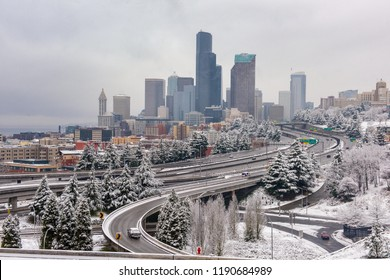 Downtown  Seattle blanketed in snow