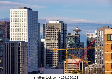 Downtown of Seattle with modern highrise buildings, WA