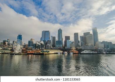 Downtown Seattle morning view from the ferry