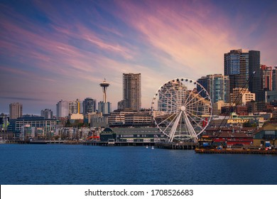 DOWNTOWN SEATTLE SKYLINE WITH THE GREAT WHEEL AND WATER FRONT