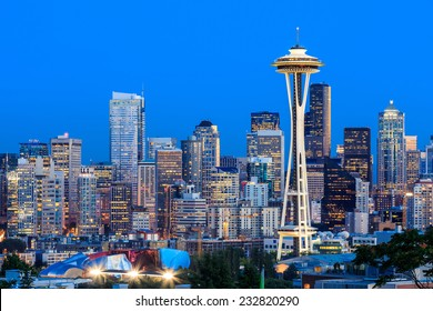 Downtown Seattle skyline at twilight, Washington State