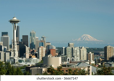 Downtown Seattle Space Needle and Mt. Rainier as viewed from Queen Anne.