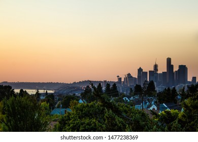 Downtown Seattle sunset from Jefferson Park.