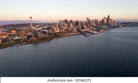 Downtown Seattle Waterfront Aerial View at Sunset at Puget Sound