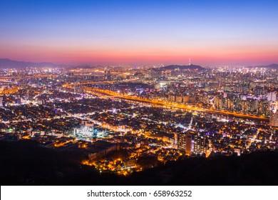 Downtown Seoul Beautiful night of Korea with Seoul Tower after sunset, South Korea.