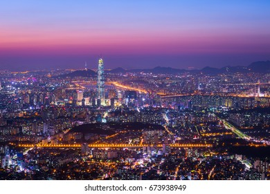 Downtown Seoul skyline and skyscraper after sunset