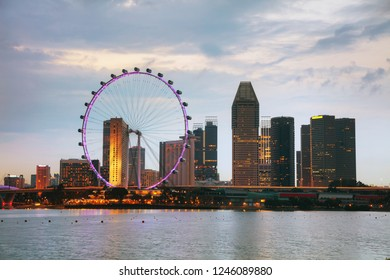 Downtown Singapore as seen at night