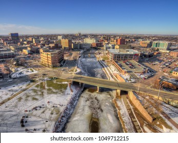Downtown Sioux Falls, South Dakota during Winter via Drone