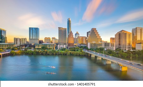 Downtown Skyline of Austin, Texas in USA from top view at sunset