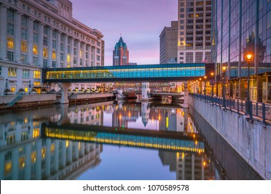 Downtown skyline with Buildings in Milwaukee at twilight, in Wisconsin USA