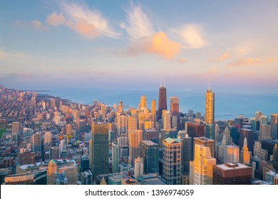Downtown skyline of Chicago from top view in USA at sunset
