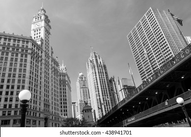 Downtown skyline and the DuSable Bridge in black and white.  Chicago, Illinois, U.S.A..
