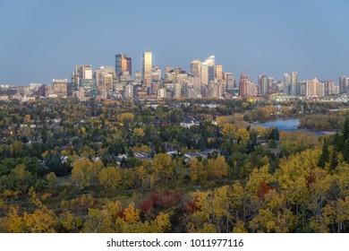 Downtown skyline at dusk in fall, Calgary, Canada