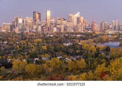 Downtown skyline at dusk in fall, Calgary, Canada
