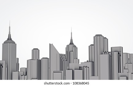 downtown skyline isolated on white background