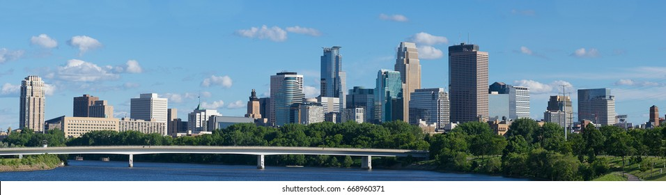 DOWNTOWN SKYLINE MINNEAPOLIS MINNESOTA and  MISSISSIPPI RIVER USA