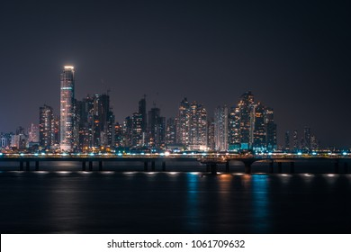 downtown skyline at night - skyscraper cityscape, Panama City -