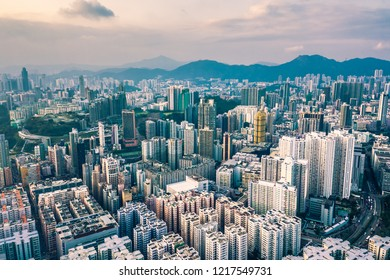Downtown skyline with urban skyscrapers at whampoa district hong kong