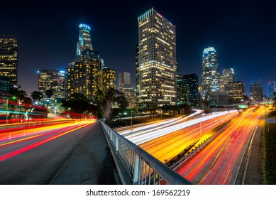 Downtown skylines lit up at night, Los Angeles, California, USA