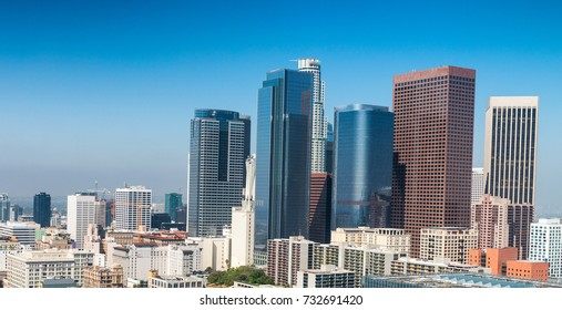 Downtown skyscrapers on a sunny day, Los Angeles is often known by its initials L.A..