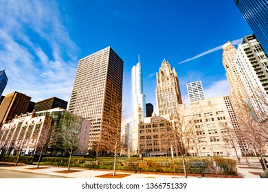 Downtown squares and buildings in Chicago city