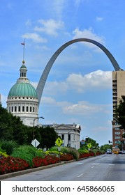 Downtown St. Louis, Missouri with the Gateway Arch.