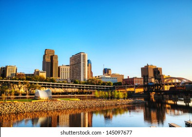 Downtown of St. Paul, MN early in the morning