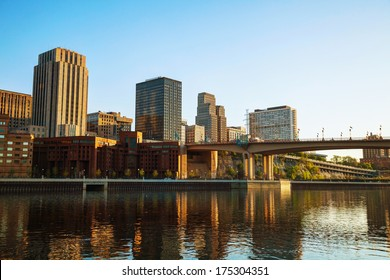 Downtown of St. Paul, MN and Mississippi river