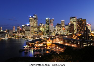 Downtown Sydney, Australia at night