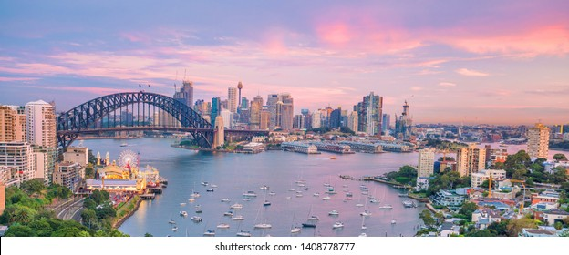 Downtown Sydney skyline in Australia from top view at twilight