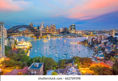 Downtown Sydney skyline in Australia at twilight