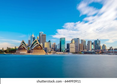 Downtown Sydney skyline with blue sky in Australia