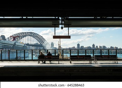 Downtown Sydney skyline with blus sky from train station in Australia