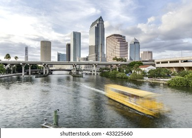 Downtown Tampa Bay, Florida with ferry passing by.