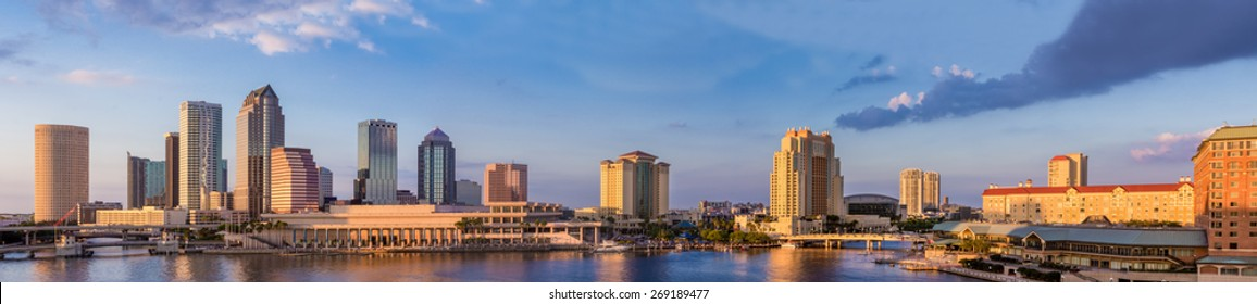 Downtown Tampa Florida Panoramic Sunset